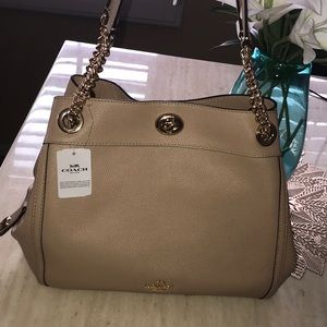 Tan leather Coach purse.  NWT!